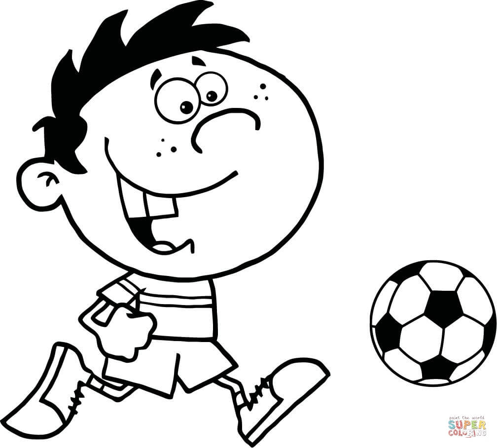 Soccer Boy With Ball Coloring Page